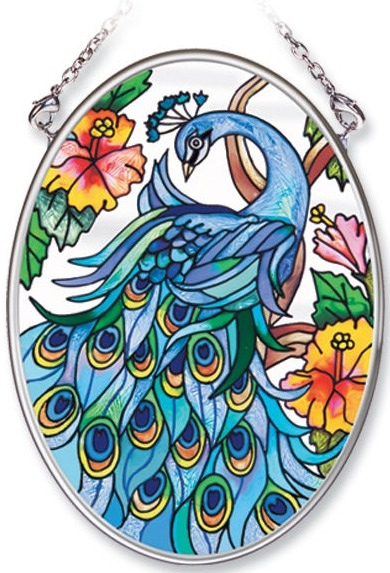 Amia 8248 Peacock Small Oval Suncatcher