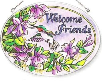 Amia 8314 Welcome Friends Medium Oval Suncatcher