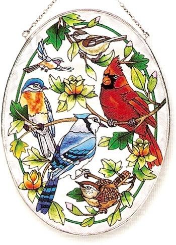 Amia 8347 For The Birds Large Oval Suncatcher