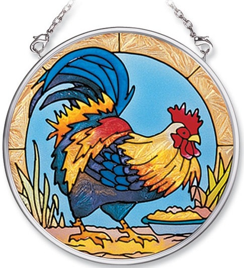 Amia 8351 Rooster Small Circle Suncatcher