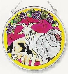 Amia 8359 Goat Pig Lamb Medium Circle Suncatcher