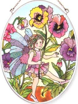 Amia 8382 Pansy Fairy Medium Oval Suncatcher