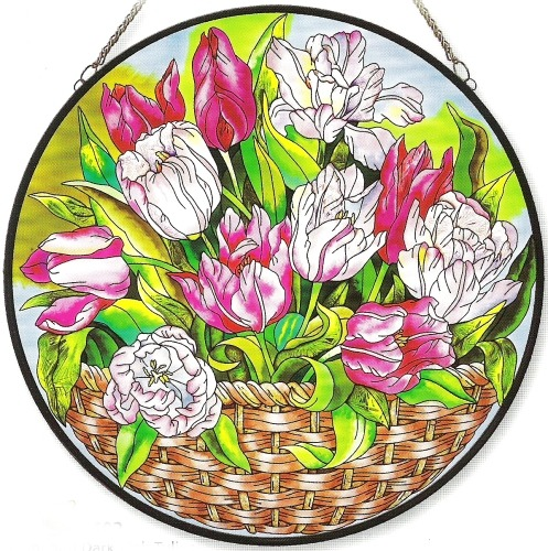 Amia 8402 Light Pink & Dark Tulips