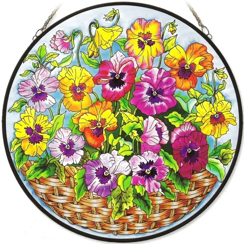 Amia 8405 Amber Pansies Large Circle Panel
