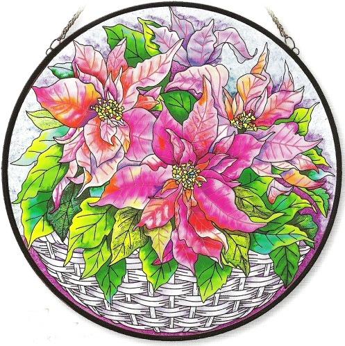 Amia 8407 Pink Poinsettia Large Circle Panel