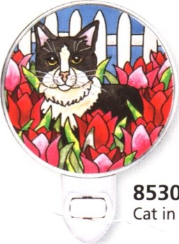 Amia 8530 Cat & Red Tulips Night Light Nightlight