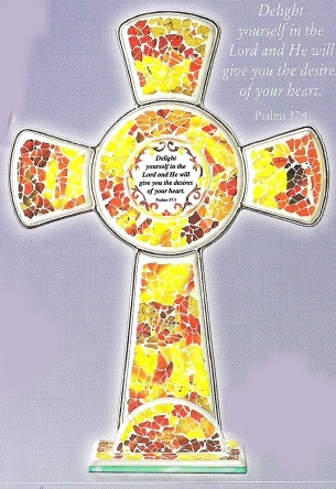 Amia 8763 Gold and Rust Inspirational Cross