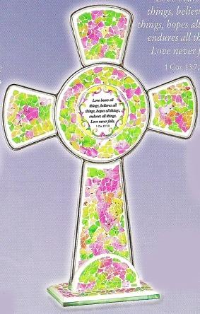 Amia 8765 Green & Pink Inspirational Cross