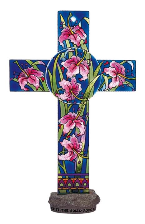 Amia 8836 Pink Lilies Inspirational Cross