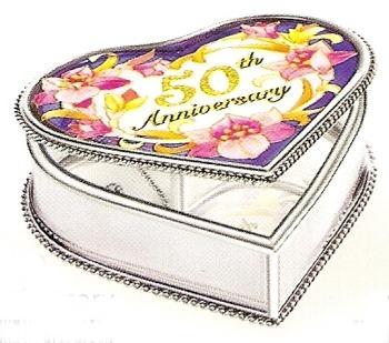Amia 8929 50th Anniversary Heart Shaped Jewelry Box