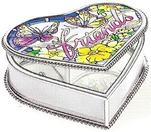 Amia 8936 Friends Heart Shaped Jewelry Box
