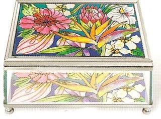 Amia 8987 Tropical Floral Large Jewelry Box