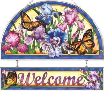 Amia 9416 Iris and Butterflies Welcome Panel
