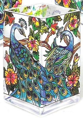 Amia 9534 Peacock Rectangular Vase Votive Holder