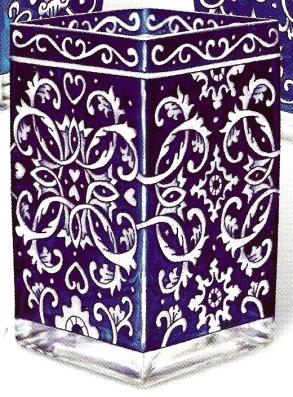 Amia 9537 Delft Blue Rectangular Vase Votive Holder