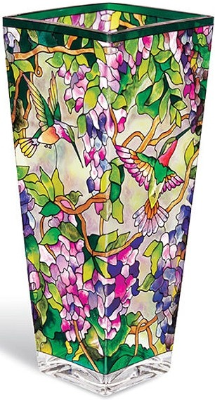 Amia 9697 Hummingbird & Wisteria Large Vase - Flared