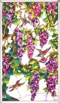 Amia 9748 Hummingbird & Wisteria Window Panel