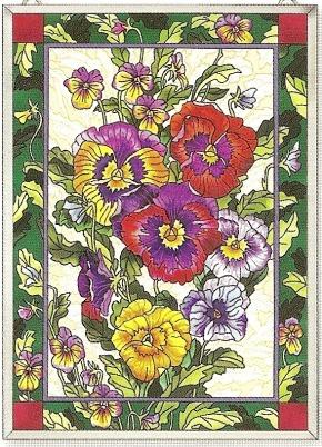 Amia 9807 Pretty Pansy Petals Window Panel