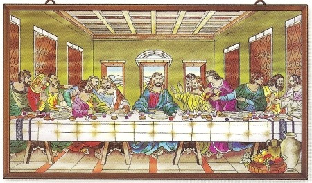 Amia 9958 Last Supper Metal Frame Glass Panel