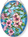 Amia 40023 Cottage Garden Hollyhocks Large Oval Suncatcher