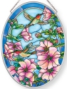Amia 40024 Cottage Garden Hollyhocks Medium Oval Suncatcher