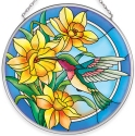 Amia 40056 Humming Daffodils Medium Circle Suncatcher