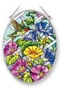 Amia 41362 Hummingbird Morning Glory Medium Oval Suncatcher