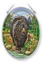 Amia 41364 Black Bear Medium Oval Suncatcher