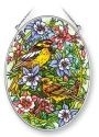Amia 41388 Birds With Columbines Medium Oval Suncatcher