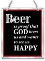 Amia 41651 Beer Is Proof The God Loves Beveled Glass Rectangle Suncatcher