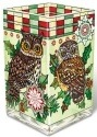 Amia 41774 Christmas Owls Rectangular Vase Votive Holder