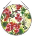 Amia 41902 Geraniums and Hummingbirds Large Circle Suncatcher