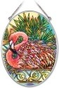 Amia 41948 Tropical Flamingo Medium Oval Suncatcher