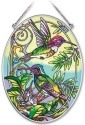 Amia 41950 Hummingbird Companions Medium Oval Suncatcher
