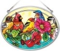Amia 41953 Songbirds On Hollyhock Medium Oval Suncatcher