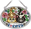 Amia 41973 I Love Cats Small Oval Suncatcher