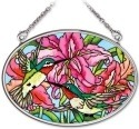 Amia 41974 Hummingbirds and Lilies Small Oval Suncatcher