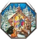 Amia 41982 Christmas Gathering Beveled Medium Octagon Panel