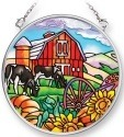 Amia 42089 Farm Scene Small Circle Suncatcher