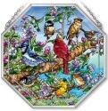 Amia 42132 Birds & Blossoms Beveled Medium Octagon Panel