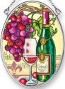 Amia 42251 Vin Rouge Riche Wine & Grape Small Oval Suncatcher