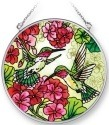 Amia 42275 Hummingbird & Red Geraniums Medium Circle Suncatcher