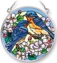 Amia 42299 Blossoms and Bluebirds Small Circle Suncatcher