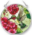 Amia 42302 Hummingbird and Red Geraniums Small Circle Suncatcher