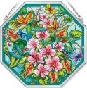 Amia 42384 Hummingbirds Orchard Beveled Medium Octagon Panel
