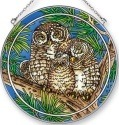 Amia 42424 Spotted Owls Large Circle Suncatcher