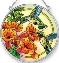 Amia 42448i Hummingbirds Trumpet Flower Medium Circle Suncatcher