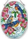 Amia 42456 Bluebirds Dogwood Medium Oval Suncatcher
