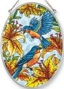 Amia 42458 Bluebirds Daylilies Medium Oval Suncatcher