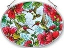 Amia 42460 Hollyhocks Hummingbirds Medium Oval Suncatcher